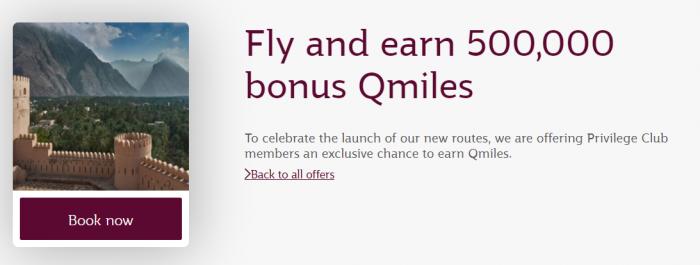 Qatar Airways Privilege Club 500,000 Qmiles August 1 - March 31 2018