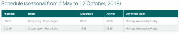Cathay Pacific New Routes Europe 2018 CPH