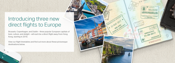 Cathay Pacific New Routes Europe