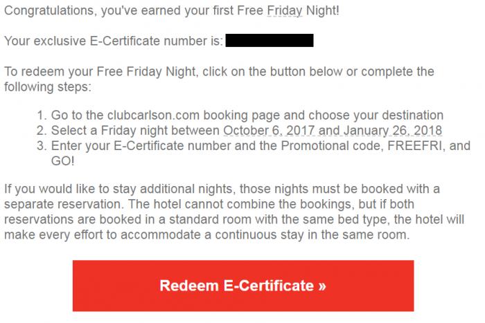 Club Carlson Free Friday Email Body