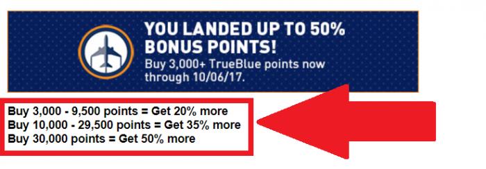 JetBlue TrueBlue Buy Points Up To 75 Percent Mystery Bonus September 5 - October 6 2017 Bonus U