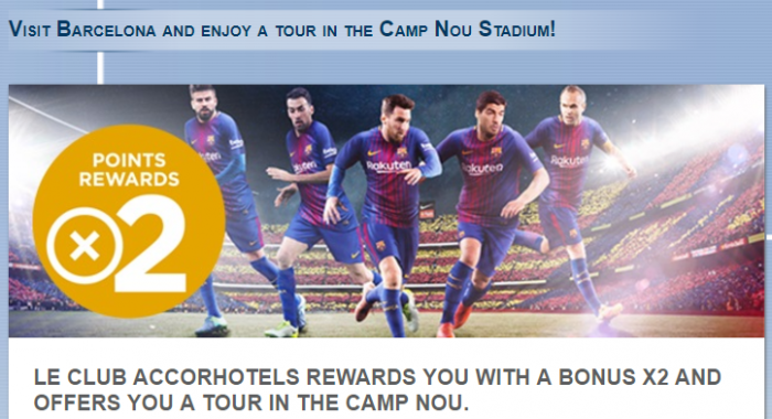Le Club AccorHotels Barcelona Double Points September 20 - December 31 2017