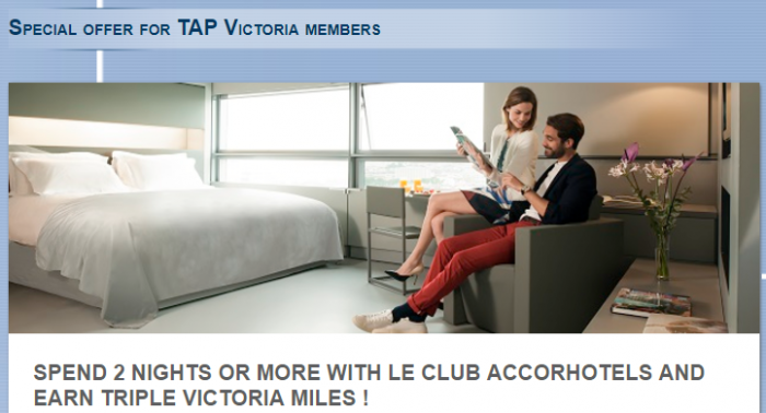 Le Club AccorHotels Tap Victoria Triple Miles September 11 - November 11 2017