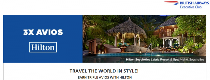 Hilton Honors British Airways Executive Club Triple Avios October 15 - January 30 2018