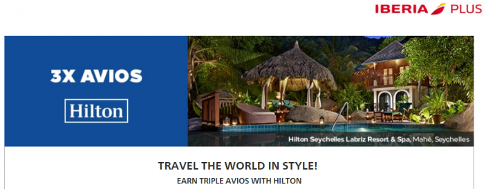 Hilton Honors Iberia Plus Triple Avios October 15 - January 30 2018