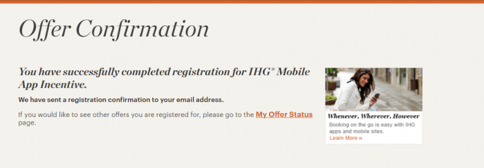 IHG Rewards Club Mobile App Incentive Confirmation