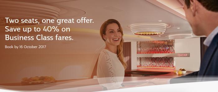 Qatar Airways Business Class Companion Sale October 2017