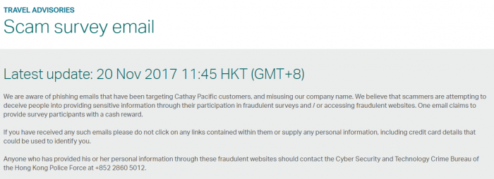 Cathay Pacific Fake Survey Travel Advisory