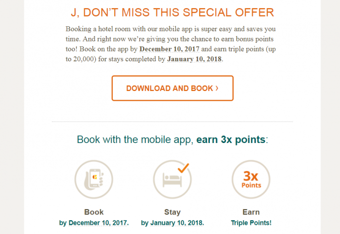 Choice Privileges Mobile App Promo Triple Points Text