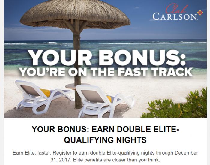 Club Carlson Elite Status Fast Track November 1 - December 31 2017