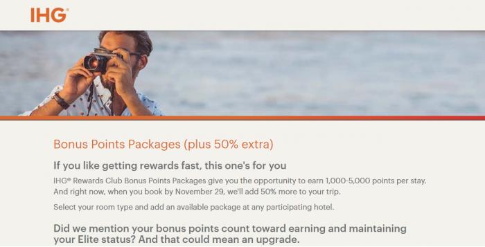 IHG Rewards Club 50% Bonus Points Package Bonus For Stays Through December 30, 2017 (Book By November 29)