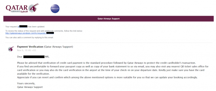 Whine Wednesdays Qatar Airways Payment Verification Reply 2