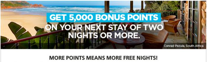 Hilton Honors 5,000 Bonus Points 2018