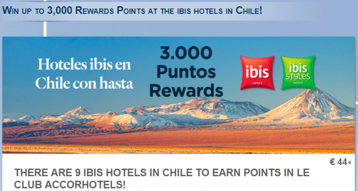 Le Club AccorHotels Ibis Chile Bonus Promotion December 1 - January 31 2018