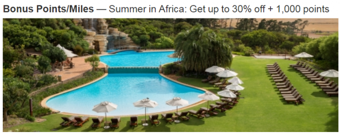 Marriott Rewards South Africa 30 Percent Off + 1000 Bonus Points January 25 March 31 2018
