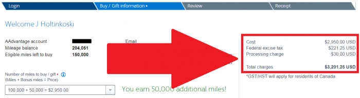 American Airlines Buy AAdvantage Miles January 2018 Price