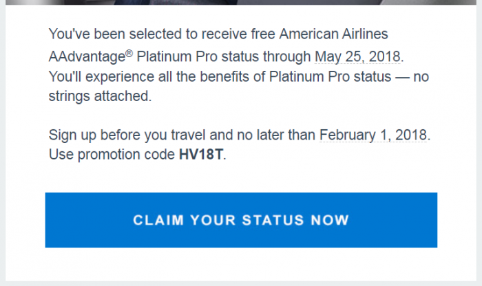 American Airlines Platinum Pro Instant Sign Up Offer Text