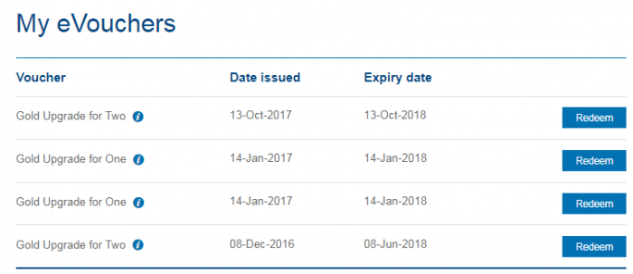 British Airways Executive Club Gold Upgrade Vouchers Enhancement My Vouchers