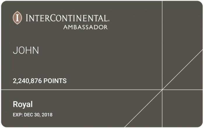 IHG Rewards Club InterContinental Royal Ambassador Downgrade Email Card