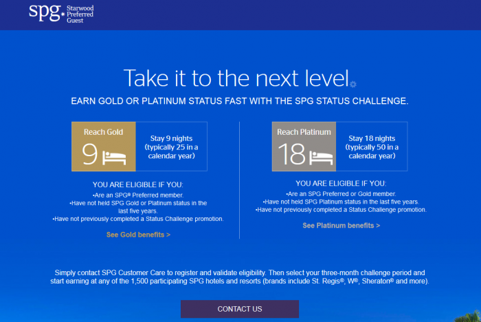 Starwood Preferred Guest (SPG) Status Challenge 2018