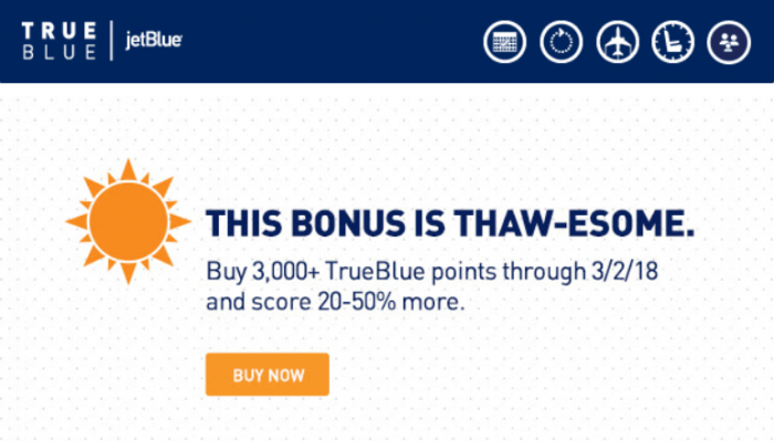 JetBlue TrueBlue Buy Points February 2018 Offer