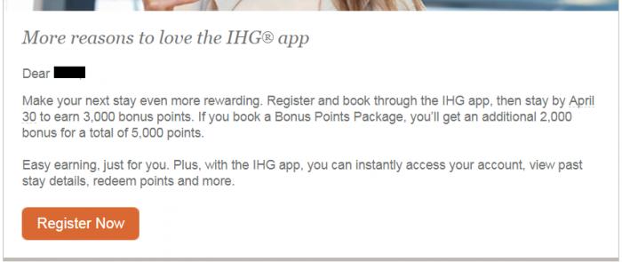 IHG Rewards Club App Booking Bonus Spring 2018 Email