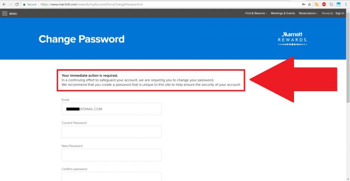 Marriott's Website Forces Password Change Upon Login