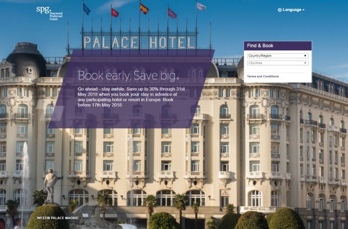 Starwood Preferred Guest Europe Up To 30% Off Through May 31 2018