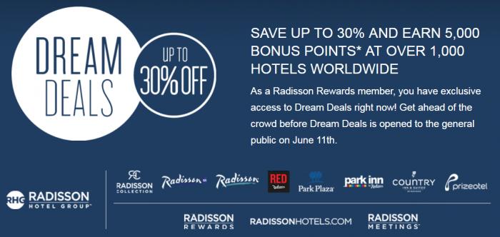 Radisson Rewards Summer 2018 Dream Deals Details
