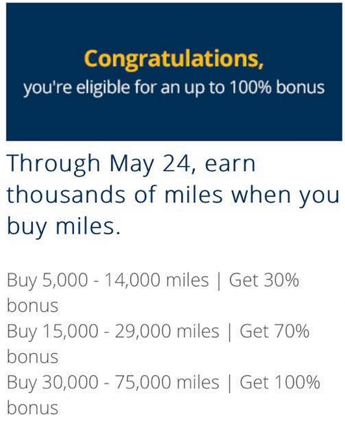 United Airlines MileagePlus Buy Miles Mystery Offer May 2018 Bonus