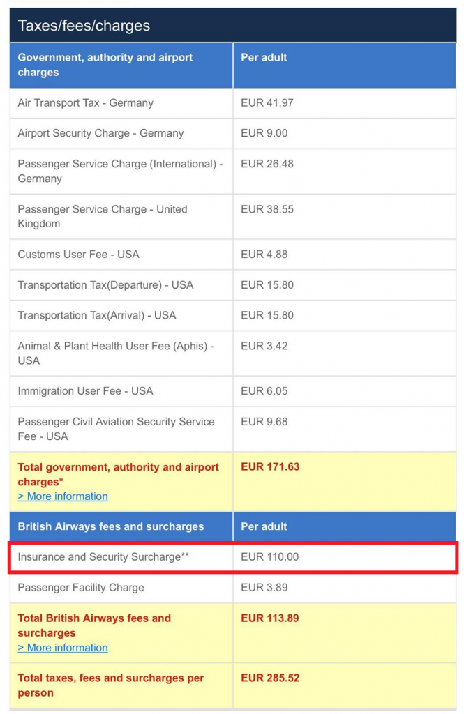 BA Insurance & Security Surcharge