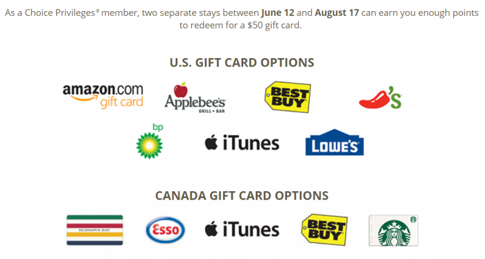 Choice Privileges 8000 Bonus Points Summer 2018 Gift Cards