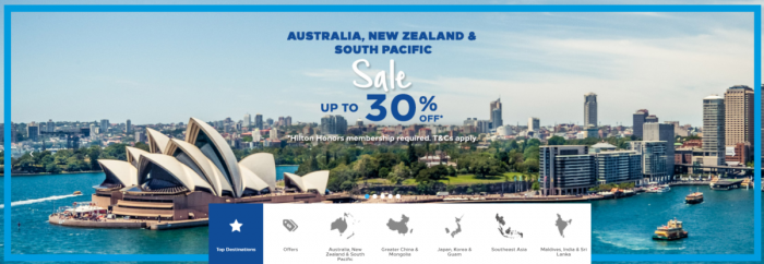 Hilton Honors Australia New Zealand South Pacific Up To 30 Percent Off Sale Summer 2018