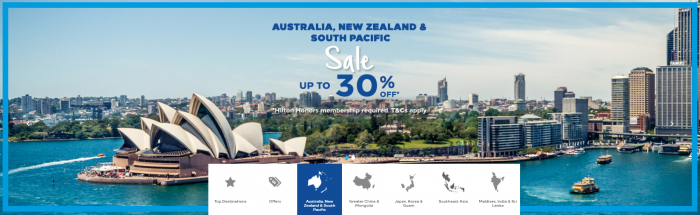 Hilton Honors Australia New Zealand South Pacific Up To 30 Percent Off Sale Summer 2018 Live