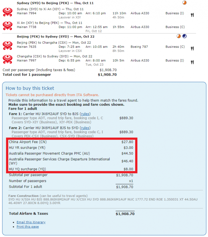Hainan Airlines Diamond Family Package Fees