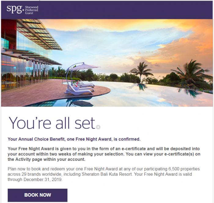 Marriott Rewards & SPG Choice Benefits 50 75 Nights Free Night Confirmation Email U
