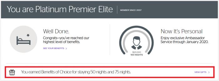 Platinum Premier Elite Benefit Choice 75 Nights