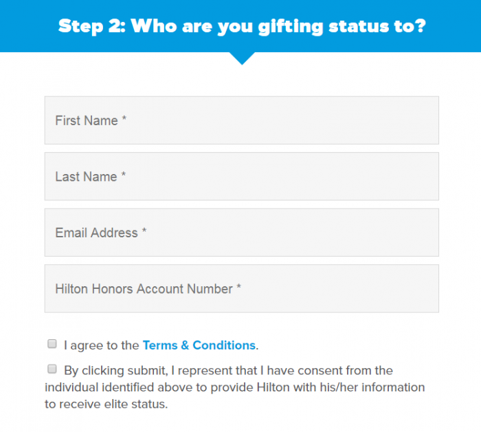 Hilton Honors Gold & Diamond Gift Status Form 2