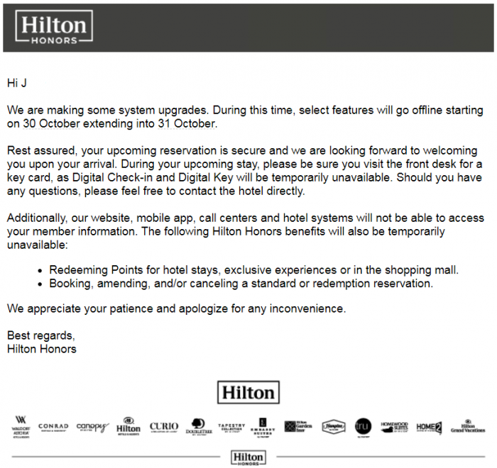 REMINDER: Hilton's Website & Contact Center Functionality