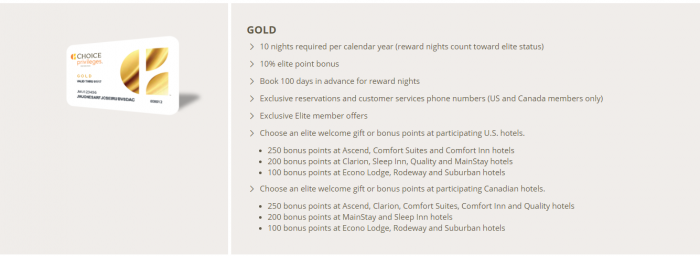 Choice Privileges Gold Status Benefits
