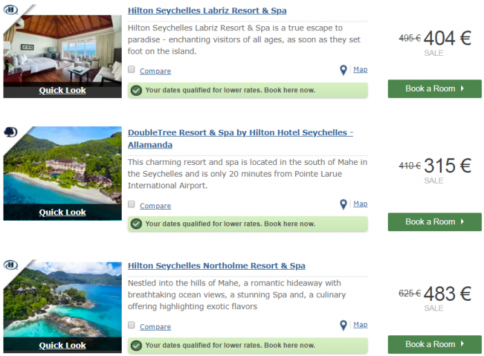 Hilton Honors EMEA Sale Fall 2018 Seychelles