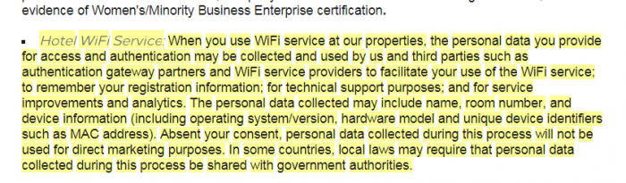 Hilton Honors Privacy Statement Update Small Print WiFi