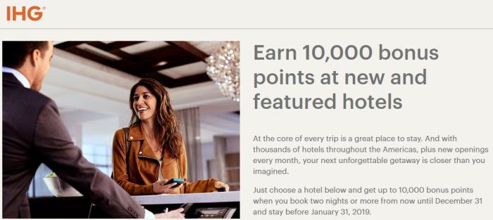 IHG Rewards Club 10,000 Bonus Points New & Featured Hotels Fall 2018