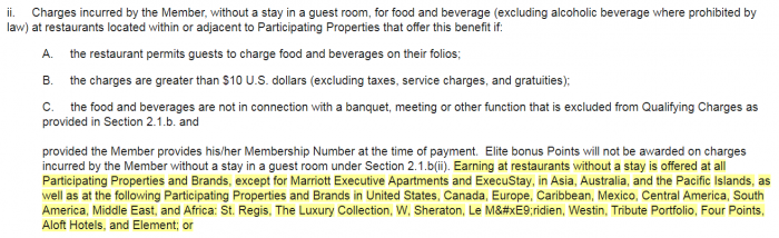 Marriott Rewards Terms & Conditions Update November 2018 F&B Without Staying
