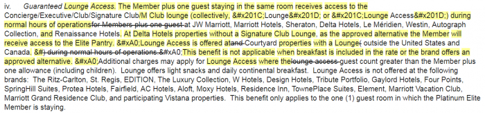 Marriott Rewards Terms & Conditions Update November 2018 Platinum Member Lounge Access