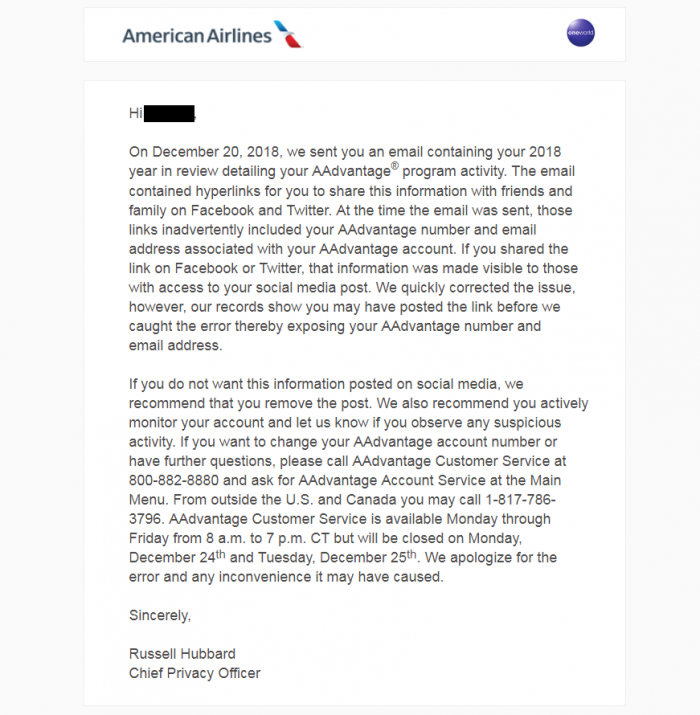 American Airlines Mistake