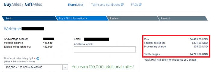 American Airlines AAdvantage Buy Miles December 2018 Price