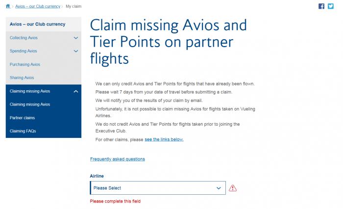 British Airways Executive Club Claiming Missing Avios