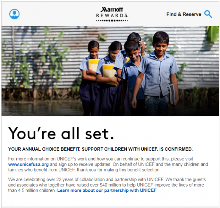 Marriott Rewards Choice Benefits 50 Nights Options Unicef Email Confirmation