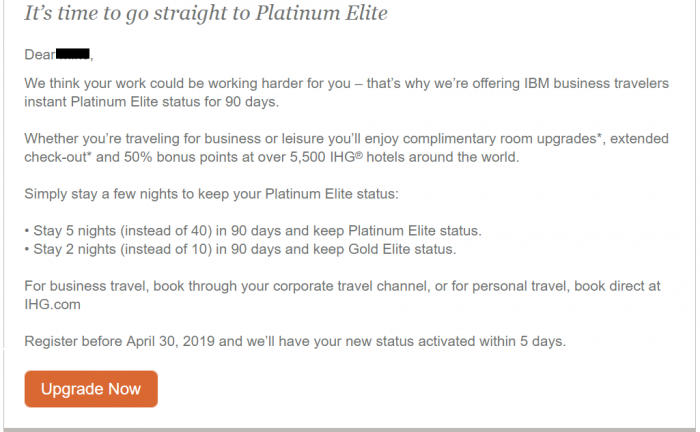 IHG Rewards Club Instant Platinum + Fast Track To Keep It